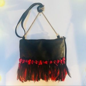 Handbags - Black and red feathered tote